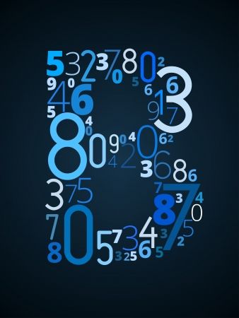 Letter B,  from different numbers typography vector font Illustration