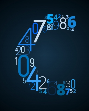 cryptography: Letter C,  from different numbers typography vector font Illustration
