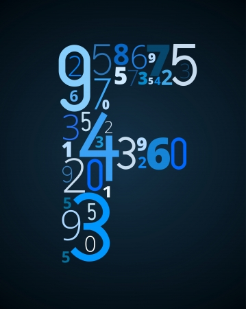 binary data: Letter F,  from different numbers typography vector font
