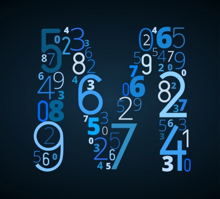 letter m: Letter M,  from different numbers typography vector font Illustration