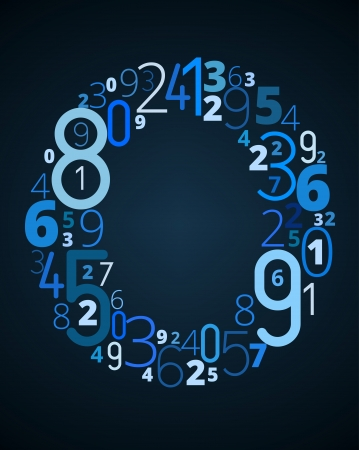 cryptography: Letter O,  from different numbers typography vector font