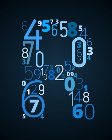 cryptography: Letter R,  from different numbers typography vector font Illustration
