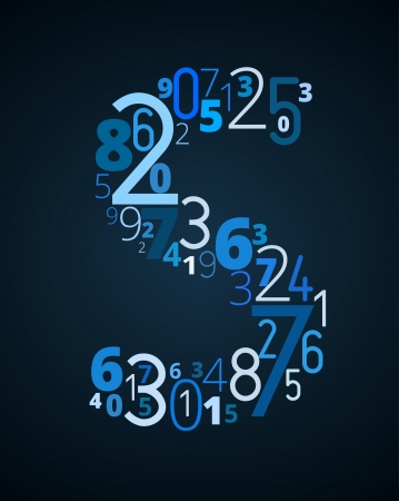 cryptogram: Letter S,  from different numbers typography vector font