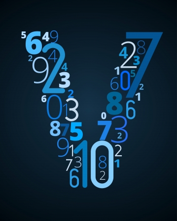 Letter V,  from different numbers typography vector font Illustration
