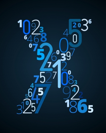 cryptogram: Letter X,  from different numbers typography vector font