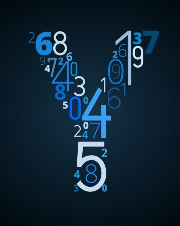 cryptogram: Letter Y,  from different numbers typography vector font