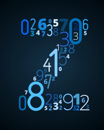 Letter Z,  from different numbers typography vector font