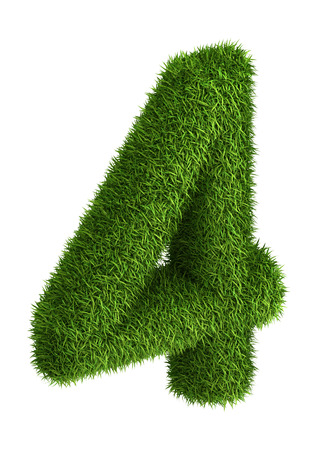 3D number 4 photo realistic grass isometric projection