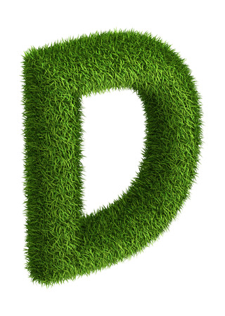 letter d: 3D Letter  D photo realistic isometric projection grass ecology theme on white