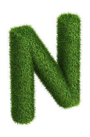 3D Letter N photo realistic isometric projection grass ecology theme on white photo