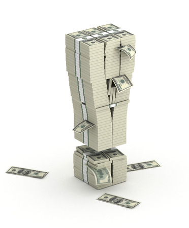 pile of cash: Exclamation mark , font from dollars paks  isometry on white background Stock Photo