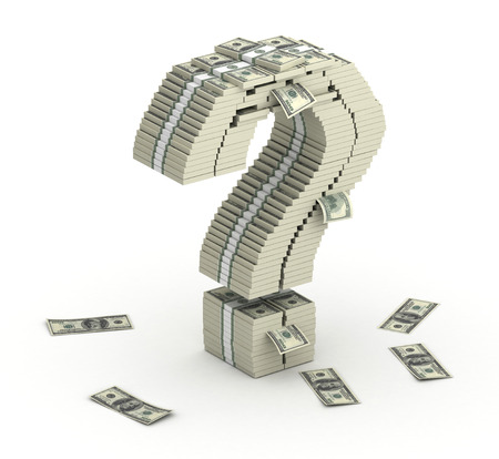 millionaire: Question mark, font from dollars paks  isometry on white background
