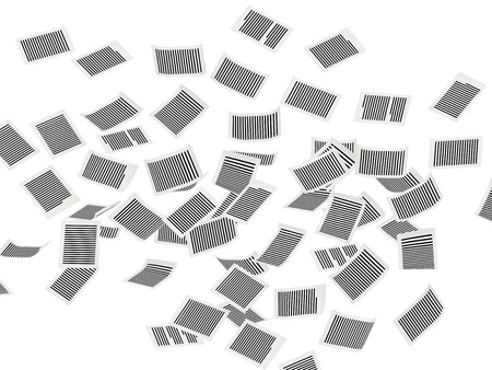 commercialese: Flying paper page in air, on white background
