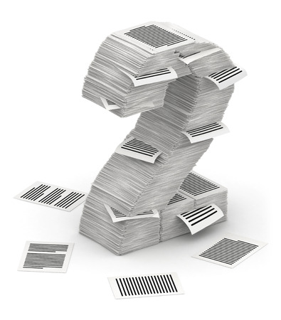 bureaucratism: 3D isometric number 2, makes from stacks of paper pages font