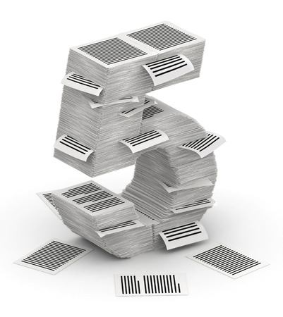 bureaucratism: 3D isometric number 5, makes from stacks of paper pages font