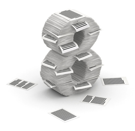 3D isometric number 8, makes from stacks of paper pages font Stock Photo