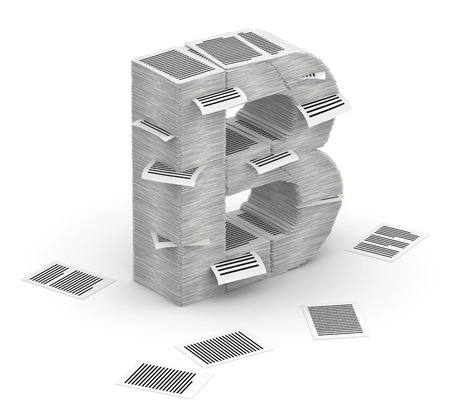 commercialese: 3D isometric letter B, maked from stacks of paper pages font