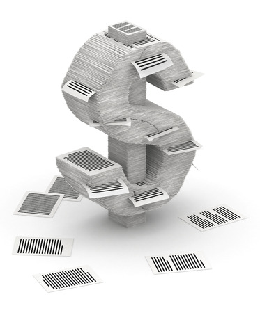 3D isometric dollar sign , makes from stacks of paper pages font photo