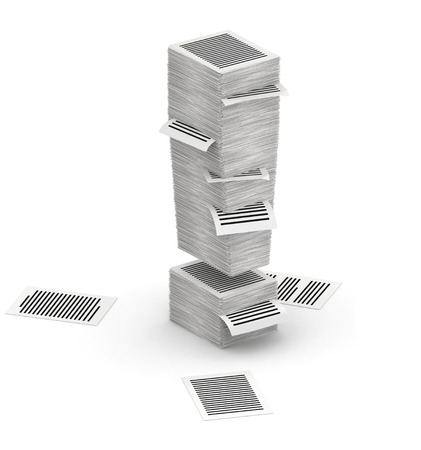 bureaucratism: 3D isometric exclamation mark , makes from stacks of paper pages font Stock Photo