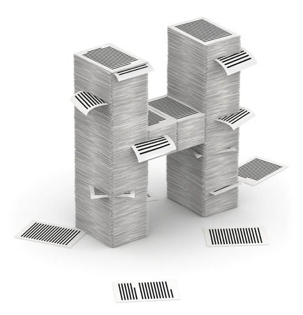 bureaucratism: 3D isometric letter H, maked from stacks of paper pages font
