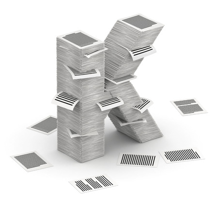 cryptogram: 3D isometric letter K, maked from stacks of paper pages font