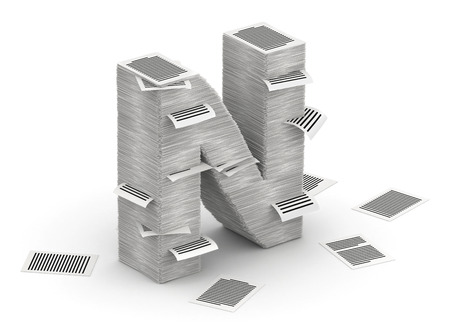 cryptogram: 3D isometric letter N, maked from stacks of paper pages font