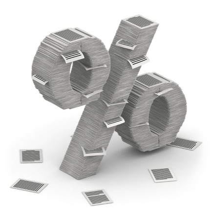 bureaucratism: 3D isometric percent sign , makes from stacks of paper pages font Stock Photo