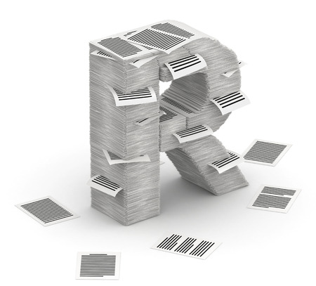 commercialese: 3D isometric letter R, maked from stacks of paper pages font