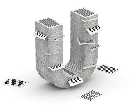 commercialese: 3D isometric letter U, maked from stacks of paper pages font