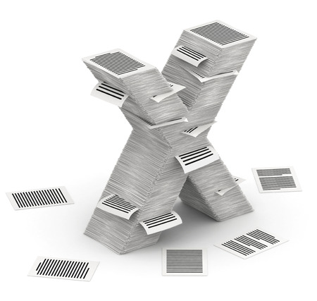 commercialese: 3D isometric letter X, maked from stacks of paper pages font Stock Photo