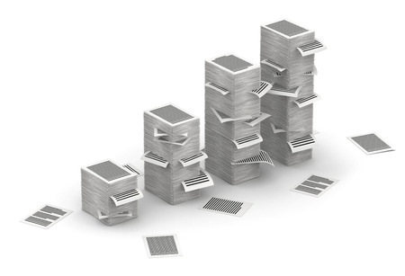 commercialese: Several stacks of paper pages as graph on white background Stock Photo