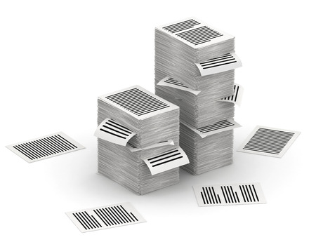 Several stacks of paper pages on white background Stock Photo