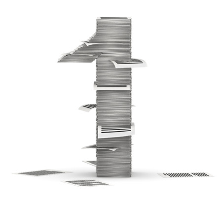 Number 1, from stacks of paper pages font