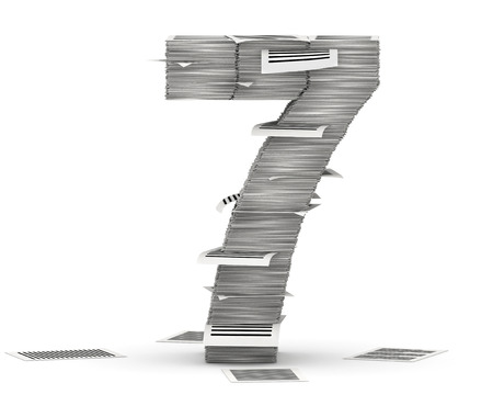 Number 7, from stacks of paper pages font