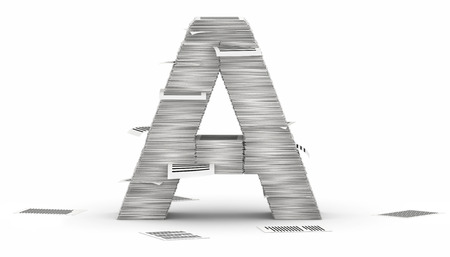 Letter A, from stacks of paper pages font