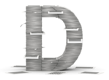 commercialese: Letter D, from stacks of paper pages font