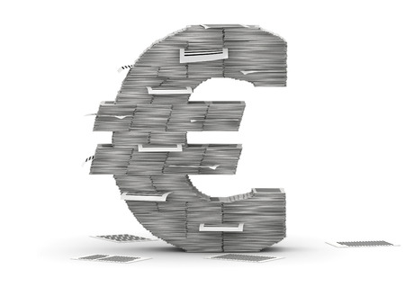 commercialese: Euro symbol , from stacks of paper pages font Stock Photo