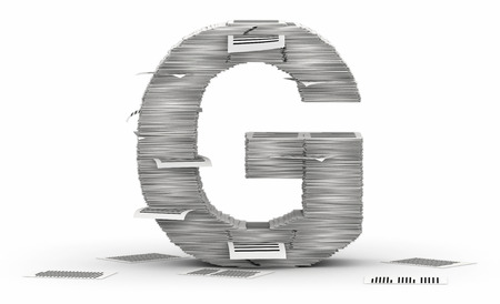 bureaucratism: Letter G, from stacks of paper pages font