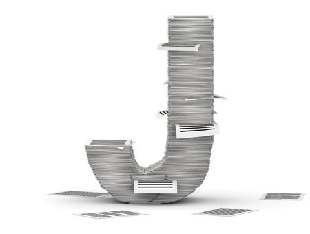 Letter J, from stacks of paper pages font
