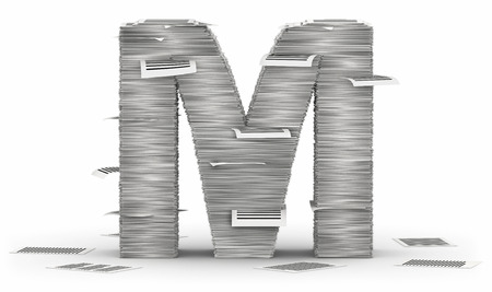 cryptogram: Letter M, from stacks of paper pages font