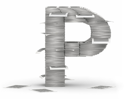 Letter P, from stacks of paper pages font