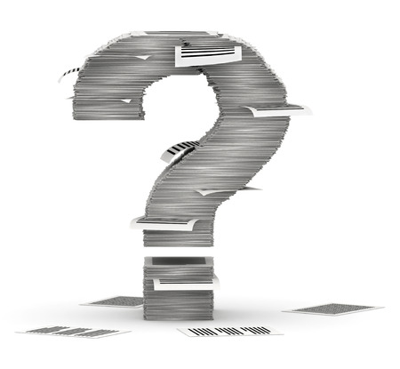 bureaucratism: Question mark, from stacks of paper pages font Stock Photo