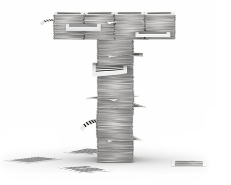 bureaucratism: Letter T, from stacks of paper pages font Stock Photo