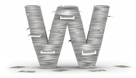 Letter W, from stacks of paper pages font