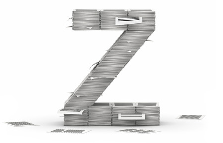 commercialese: Letter Z, from stacks of paper pages font