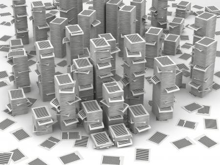 bureaucratism: Many stacks of paper page, huge paperwork concept