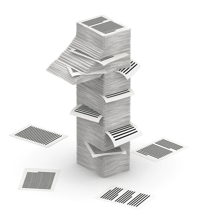 bureaucratism: 3D isometric number 1, makes from stacks of paper pages font