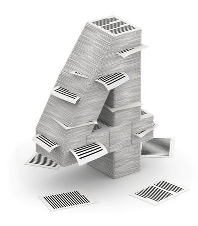 3D isometric number 4, makes from stacks of paper pages font