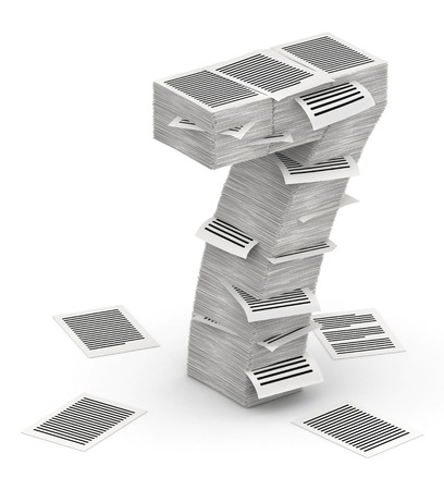 bureaucratism: 3D isometric number 7, makes from stacks of paper pages font