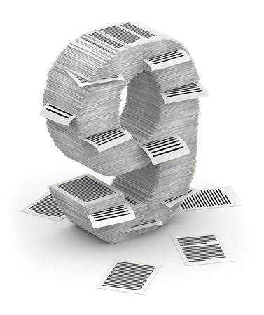 bureaucratism: 3D isometric number 9, makes from stacks of paper pages font
